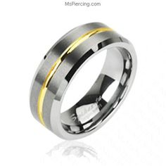 Tungsten carbine ring with gold striped center #mspiercing #piercings