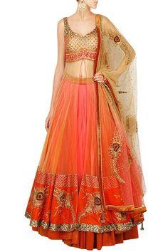 Lehengas, Clothing, Carma, Crimson red peacock artwork lehenga set with front open jacket ,  ,  ,  ,  ,  ,  ,  ,  ,  ,  ,  ,  ,