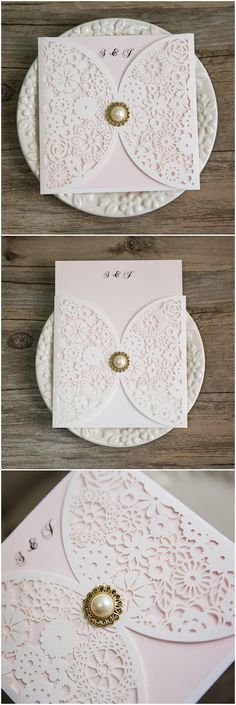 blush and gold wedding colors inspired elegant laser cut wedding invitations @elegantwinvites