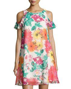 Eliza J Floral-Print Cold-Shoulder Dress, Pink Pattern - ShopStyle African Lace Dresses, African Fashion Dresses, Fashion Outfits, Shifon Dress, Pink Chiffon Dress, Pink Dress, Ankara Gown Styles, Modelos Plus Size, Casual Dresses