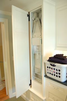 laundry room built in ironing board