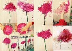 The small heads of art Cy Twombly, Art Floral, Flower Crafts, Flower Art, Painting For Kids, Art For Kids, Poppy Cards, Art Mat, Classroom Art Projects
