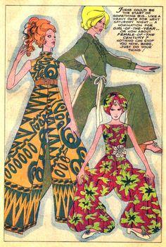Mad Mad Modes Of Moderns Vintage Fashion Illustration Flower Fashion, Fashion Art, Vintage Fashion, Mod Fashion, 1970s Hippie Fashion, Fashion Prints, Fashion Tips, Fashion Illustration Vintage, Illustration Art