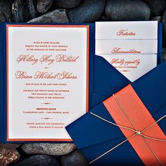 grey navy and orange wedding | Hillary and Brian chose a formal look for their invitations, which ...