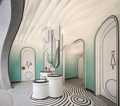 Floor Design, Ceiling Design, Kid Spaces, Small Spaces, Daycare Design, Kids Toilet, Restroom Design, Toilet Design, Bathroom Trends