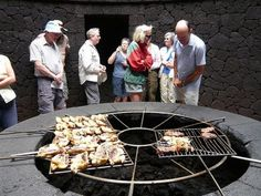 Have your dinner cooked over a live volcano at El Diablo Restaurant (The Devil), located in Timanfaya National Park, on Lanzarote, a Spanish island northwest of Morocco.