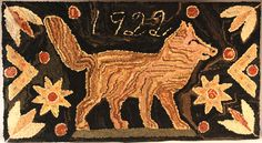 "Fox Hooked Rug  New England, Dated 1922   Wool with variegated border in excellent original condition.   42"" wide x 21"" high."
