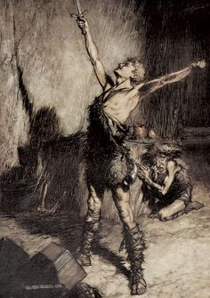 Siegfried and Mime  Arthur Rackham