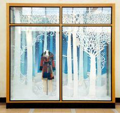 Beautiful Anthropologie Holiday window display 2013. #retail #merchandising #window_display #Christmas #trees