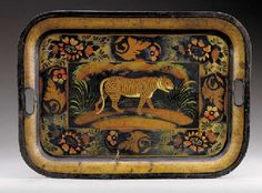 Paint Decorated Tole Tray  --  19th Century  --  American  --  Via Christies