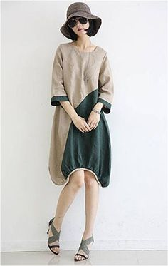 Linen Dress in Beige and Green