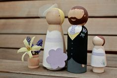 Custom Wooden Bride and Groom Wedding Couple by ProverbialDaisies, £42.00