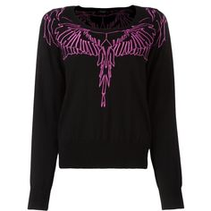 Marcelo Burlon County Of Milan embroidered wing jumper ($545) ❤ liked on Polyvore featuring tops, sweaters, black, scoop neck sweater, print top, wool jumpers, side slit top and scoop neck top
