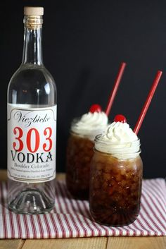 """Vootbeer"". Vodka Root Beer.  Ingredients: 2 oz. vodka, 5 oz. root beer, whipped cream for garnish, maraschino cherry (optional).  Preparation: Fill glass with ice. Pour vodka over ice and then fill with root beer. Garnish top with whipped cream and cherry if desired."