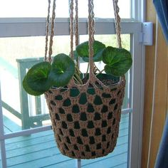 crochet plant hanger. will make me some. in front of the window + with a bushy plant in it: will be great to keep out nosy looks