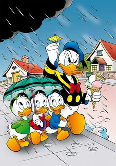 Disney - Donald Duck in the rain: Donald's full name is Donald Fauntleroy Duck. Donald's birthday is officially recognized as June the day of his debut film. Disney Duck, Disney Love, Disney Mickey, Disney Art, Disney Pixar, Humour Disney, Disney Cartoons, Funny Disney, Minnie Mouse