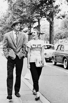 Jean-Paul Belmondo and Jean Seberg on the set of 'À bout de souffle' 1960.