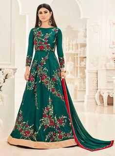 Mouni Roy Green Taffeta Silk Floor Length Anarkali Suit 89071