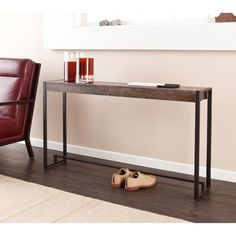 Wildon Home ® Holly and Martin Macen Console Table - behind sofa table Skinny Console Table, Narrow Console Table, Mesa Sofa, Industrial Console Tables, Sofa End Tables, Ottoman Table, Black Furniture, Furniture Design, Metal Furniture