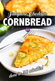 Jalapeño Cheddar Cornbread — sweet and spicy, moist and cheesy, this homemade cornbread is made in a cast iron skillet. Goes great with a hot bowl of soup or as a stand-alone side dish for any meal! Cheesy Cornbread, Jalapeno Cheddar Cornbread, Homemade Cornbread, Skillet Cornbread, Side Dish Recipes, Dishes Recipes, Bread Recipes, Side Dishes, Recipes