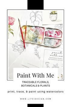 Never run out of ideas of what to paint using your watercolors with this new digital ebook.Paint with Me invites you to print, trace and paint fun and simple botanicals, house plants and florals that will have you practicing your new watercolor skills like a pro! Learn Watercolor Painting, Watercolor Beginner, Watercolor Video, Watercolor Flowers, Watercolor Paper, Learn To Paint, Modern Calligraphy, Some Fun, Ebooks
