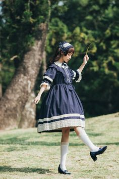 Star Fantasy -Peter Pan- Vintage Classic Lolita OP Dress (Short Sleeves Version)
