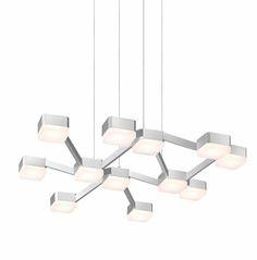Lattice LED Square Pendant Shown In Bright Satin Aluminum By Sonneman Lighting