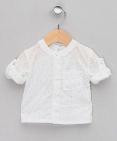 Tocoto Vintage - White Star Print Voile Shirt - Infant & Toddler