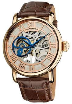 Akribos XXIV AK540RG Watches,Men's Silver Tone Skeletonized Dial Brown Leather, Men's Akribos XXIV Mechanical Watches