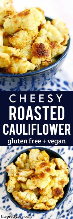 Easy, cheesy, dairy free and vegan roasted cauliflower recipe. This is an amazing side dish that's healthy and tasty!