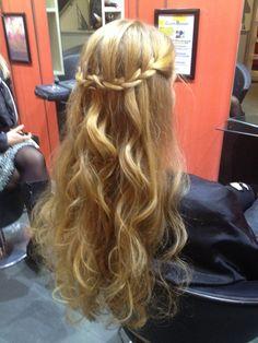Formal hair, waterfall braid