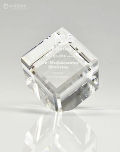 The Crystal Cube Awards is a custom trophy that makes a great promotional item or small award. They are particularly popular for staff or volunteer recognition. #crystaltrophydesign #recognitionideas #crystalawardstrophy #appreciationgifts #crystalawardtrophy #employeeaward #personalizedplaques #personalizedgift #customaward Glass Awards, Crystal Awards, Employee Awards, Custom Trophies, Personalized Plaques, Trophy Design, Custom Awards, Recognition Awards, Appreciation Gifts