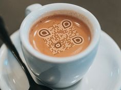 Keep calm and smartphone your coffee Qr Code Generator, Graphic Design Tips, Qr Codes, Smartphone, Advertising, Menu, Calm, Restaurant