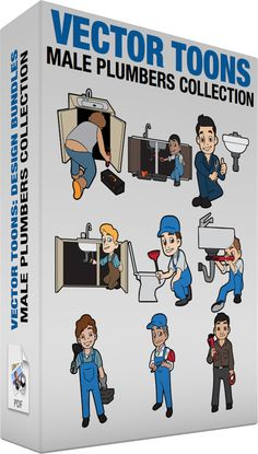 Male Plumbers Collection :  Bundle of images includes the following:  A plumber with an exposed butt crack A man with brown hair wearing a sleeveless gray top blue pants and light brown shoes with orange soles kneels down on the floor showing a bit of his butt crack while fixing a stainless sink installed on a beige counter right hand holding a red pipe wrench as a black tool box with orange handle and lock is placed beside him  A satisfied plumber fixing a kitchen sink A man with black hair…