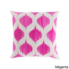 Decorative Edwards 18-inch Poly or Down Filled Throw Pillow (Magenta - Poly), Pink, Size 18 x 18 (Cotton, Geometric)