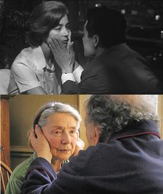 Emmanuelle Riva  (in still from Hiroshima Mon Amour, 1959; and Amour, 2012).