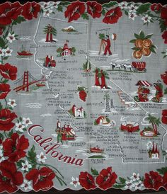 California state map + red California poppies [handkerchief / scarf]