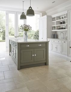 Country Kitchen Inspiration, Green Country Kitchen, Sage Green Kitchen, Kitchen Renovation Inspiration, Modern Country Kitchens, Country Kitchen Interiors, Galley Kitchen Design, New Kitchen Designs, Kitchen Room Design