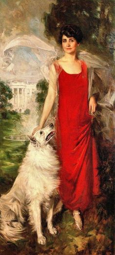 Grace Anna Goodhue Coolidge wife of Calvin Coolidge President. With Rob Roy, painted by Howard Chandler Christy 1924 In my opinion, one of the finest portraits of a First Lady. Compare the photo below, which, while. Presidents Wives, American Presidents, American History, Republican Presidents, First Lady Of America, Us First Lady, John Singer Sargent, First Lady Portraits, Calvin Coolidge