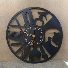 Wooden wall clock Hairdresser's Plywood Walls, Wooden Walls, Wood Patterns, Wood Glue, Color Shades, Simple Designs, Design Elements, Paint Colors, Clock