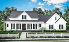 This 3-bedfarmhouse plan features a wrap-around porch that emulates classic countrystyling.Thebeautiful formal entry and dining room open into a large open living area withraised ceilings and brick accent wall.