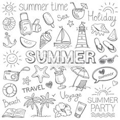 Summer Illustration Stock Vectors, Clipart and Illustrations , Doodle Drawings, Easy Drawings, Pencil Drawings, Summer Drawings, Pencil Sketching, Bullet Journal Inspo, Bullet Journals, Bullet Journal Doodles Ideas, Bullet Journal Travel