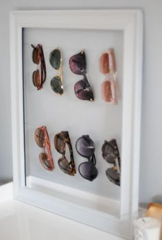 diy sunglasses display/storage {via Emily of Cupcakes & Cashmere} Sunglasses Organizer, Sunglasses Storage, Sunglasses Holder, Sunglasses Sale, Baseball Sunglasses, Wayfarer Sunglasses, Sunglasses Online, Diy Organisation, Closet Organization