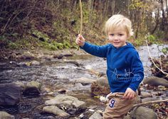 children's photography,  playing by the creek.