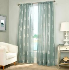 Create a sunny coastal escape in your home with the Reef Sheer Window Curtain Panel. This sheer window treatment is embellished with a subtle coral pattern for a warm beachside touch and are perfect for letting the light shine in. Coastal Bedrooms, Coastal Living Rooms, Living Room Green, Beachy Curtains, Curtains Living, Sheer Curtains, Clean Bed, Bathroom Window Treatments, Coastal Decor