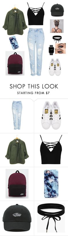 """Untitled #265"" by natalyholly on Polyvore featuring Topshop, adidas Originals, Boohoo and Vans"