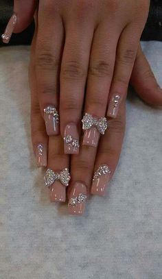 31 Elegant w/ Beads Nails Art Creative Ideas Glam Nails, Fancy Nails, 3d Nails, Bling Nails, Stiletto Nails, Cute Nails, Pretty Nails, Acrylic Nails, Beauty Nails