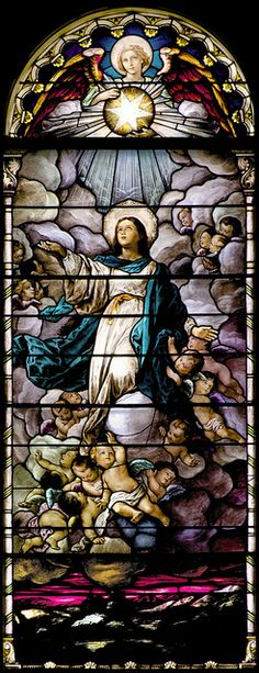 Assumption of our Blessed Virgin Mary - Assomption de la Vierge Marie Stained Glass Church, Stained Glass Paint, Stained Glass Windows, Blessed Mother Mary, Blessed Virgin Mary, Virgin Mary Art, Catholic Art, Religious Art, Christian Art