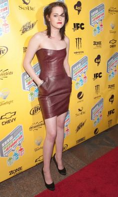 Kristen Stewart A Leather Dress By Jasmine Di Milo At The Runaways' Film Premiere, Texas, March 2010