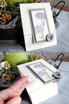 Fancy Handmade Cards This set of stamps I liked at first glance, because I have alium flowers l … Fun Fold Cards, Folded Cards, Cool Cards, Diy Cards, Karten Diy, Shaped Cards, Easel Cards, Stamping Up Cards, Card Tutorials